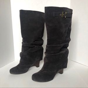 Naughty Monkey Brown Suede Slouch Wedge Heel Boot